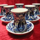 Lead free turkish tea set cup tea glasses iznik tile hand painted collectible 2
