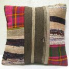 Patchwork nomadic Turkish handmade cecim kilim pillow cushion 17.2'' (125 )