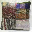 Patchwork nomadic Turkish handmade cecim kilim pillow cushion 18'' (134)