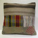 Patchwork nomadic Turkish handmade cecim kilim pillow cushion 17.2'' (144)
