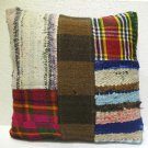 Patchwork nomadic Turkish handmade cecim kilim pillow cushion 19.6'' (142)