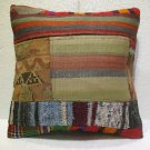Patchwork nomadic Turkish handmade cecim kilim pillow cushion 18'' (132)