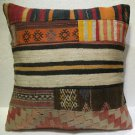 Antique Patchwork Couch Throw Pillow Turkish Kilim Rustic Cushion 26.8'' (k 114)