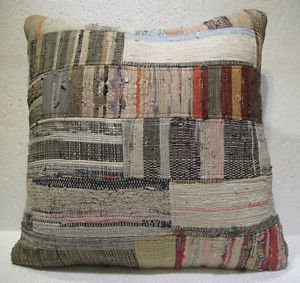 Antique Patchwork Couch Throw Pillow Turkish Kilim Rustic Cushion 26.8'' (ks 97)