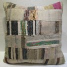 Antique Patchwork Couch Throw Pillow Turkish Kilim Rustic Cushion 27.2'' (k 108)