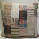Antique Patchwork Couch Throw Pillow Turkish Kilim Rustic Cushion 28'' (k 111)