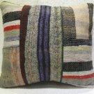 Patchwork nomadic Turkish handmade cecim kilim pillow cushion 20'' x 18'' (115 )