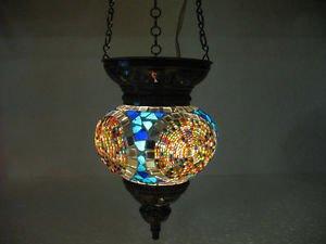 Moroccan lantern mosaic hanging lamp glass chandelier light lampe mosaiqe m 033