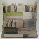 Antique Patchwork Couch Throw Pillow Turkish Kilim Rustic Cushion 26''  (k 101)