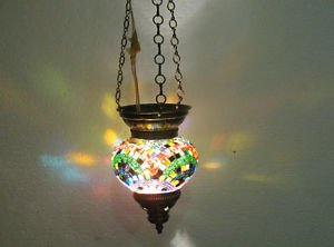 Moroccan lantern mosaic hanging lamp glass chandelier light lampen candle h 066