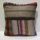 Antique Decorative Couch Throw Pillow Turkish Kilim Rustic Cushion 18'' (02)