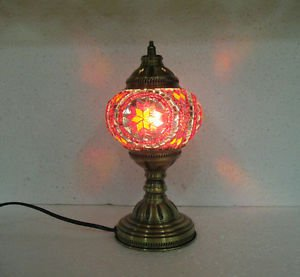 Red yellow mosaic glass table lamp tischlampe moroccan lantern lampe mosaique 1