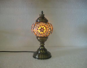 Yellow mosaic glass table lamp tischlampe moroccan lantern lampe mosaique m 21