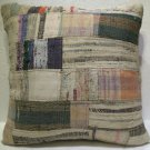 Antique Patchwork Couch Throw Pillow Turkish Kilim Rustic Cushion 26.8'' (k 110)