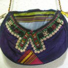 Wine red embroidery bag suzani fabric antique Turkish bag vintage purse c 016