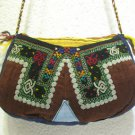 Coffee brown emroidery fine suzani purse antique Turkish bag vintage purse c 029