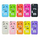 Silicone M&M Chocolate colorful Rainbow Beans phone case for iphone 4 5 6