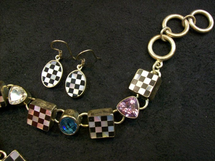 Checkered Earrings by Charles Albert