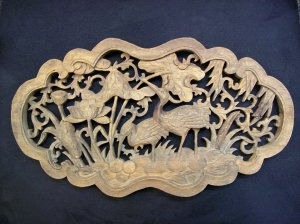 Wooden Carving with Two Cranes