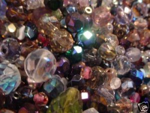 Czech FACETED Vintage-Old Unused Mix GLASS BEADS Stunning AB-Crystal-Jewel Colors Mix Qtr Pound LOT