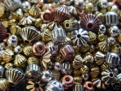 600 MIX BEADS LOT Silver-Gold-Copper-Brass Vintage-Antique-Bali Style Spacers
