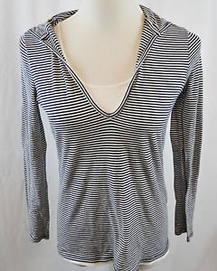 Liz Claiborne Navy Blue and White Long Sleeve Hooded Top Size Small
