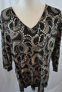 CDP & Co Black and Tan Sequenced Blouse. Size 2X