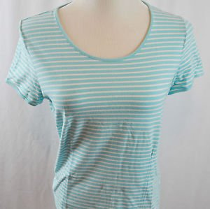 Liz Claiborne Short Sleeve Striped Blue Top