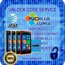 AT&T Nokia Lumia 520 635 640 820 830 920 925 1200 1520 Code Unlock ALL IMEI