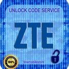Unlock Code ZTE MF30 MF332 MF3680 MF50 MF51 MF591 MF60 MF61 MF612 Fast service
