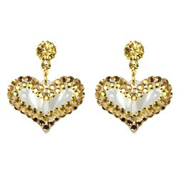 BRAND NEW TARINA TARANTINO CRYSTAL AND LUCITE HEART EARRINGS **FREE US SHIPPING**