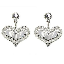 BRAND NEW CRYSTAL AND LUCITE HEART EARRINGS **FREE US SHIPPING**
