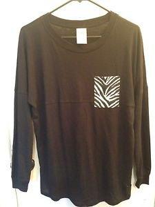 NWOT Victoria's Secret PINK Long Sleeve Shirt Black Size XS