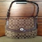 #H0769-11014 COACH Brown Genuine Leather Trim Signature Handbag