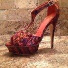 Preowned Colin Stuart Platform Stilettos Heels ~ Snake Pattern ~ Size 9