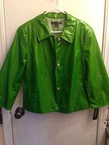 NWT $498 Lafayette 148 New York Green 100% Silk Jacket Size 12