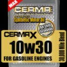 Cerma X 10W30 synthetic 30,000 mi. self cleaning motor oil with STM3  5 qts.