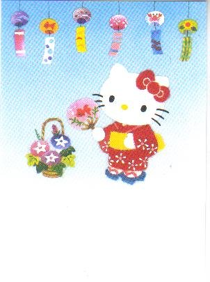 Japan Sanrio Hello Kitty wear Kimono Postcard