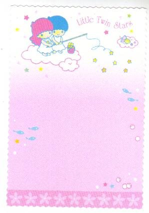 Japan Sanrio Little Twin Stars flower boarder postcard
