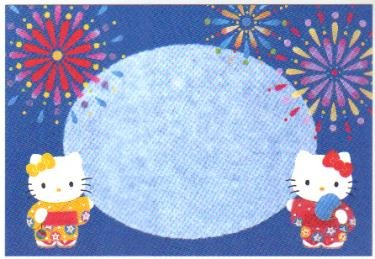 Japan Sanrio Hello Kitty Summer Firework Postcard