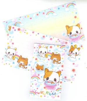 Japan San-x Rainbow Kitten with Bubbles Memosets