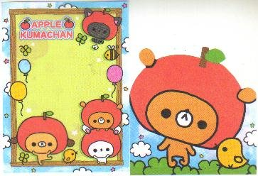 Japan Kamio Apple Kuma Chan Memos