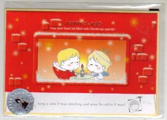 Korea Angels Christmas Card w/ Envelope + Sticker (Glitter)
