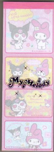 Japan Sanrio My Melody & Kuromi 4 in 1 memopad kawaii
