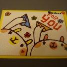 Taiwan Bears w/ Paper Plane Sparkly Notecard KAWAII