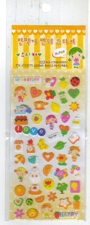 Korea Girl w/ Fruit Glitter Sticker KAWAII