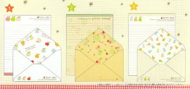 JAPAN Cru-x Pattern Apples Lettersets Kawaii