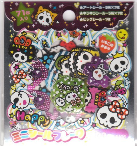 Japan Cru-x Happy Dokuro Skull Sack Stickers KAWAII