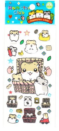 Japan Hamster Club Hamster w/ Basket Sticker KAWAII
