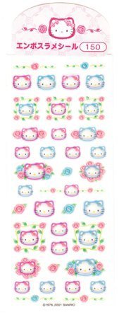 Japan Sanrio Hello Kitty Glittery Rose Sticker KAWAII